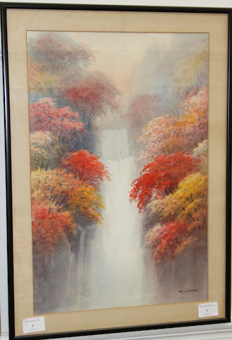 Japanese, early 20th century A water fall amongst the maples