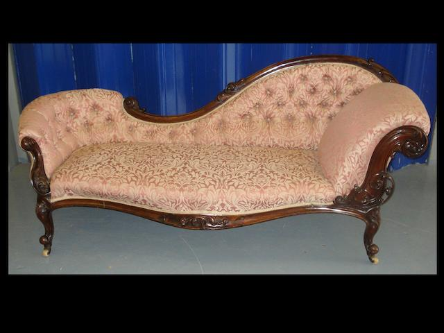 A Victorian rosewood chaise longue