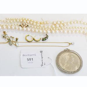 A string of graduated cultured pearls, to gold and pearl clasp, other loose strings of cultured pearls, a Marie Thersa Thaler coin pendant, a cubic zirconium set pair of earstuds and pendant a pair of Edwardian ear pendants set with mother of pearl and peridots, a part ring setting set old cut diamond and dematoid garnets, (untested), pair of gold hoop earrings set with sapphires and diamond points.