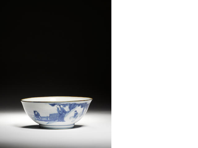 A blue and white bowl  Circa 1630-1644