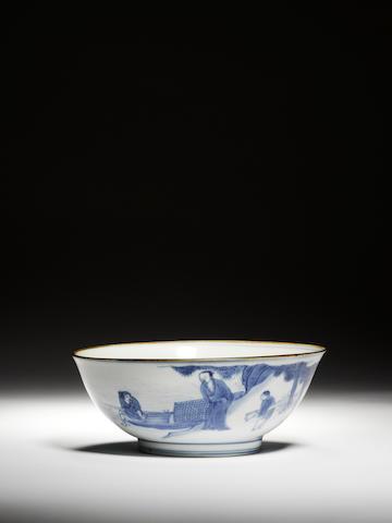 A blue and white bowl  Circa 1630-1644