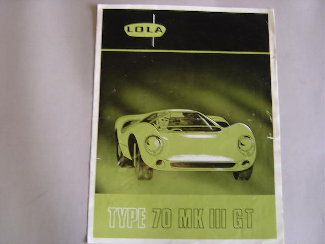 A Lola Type 70 Mk III GT sales brochure,