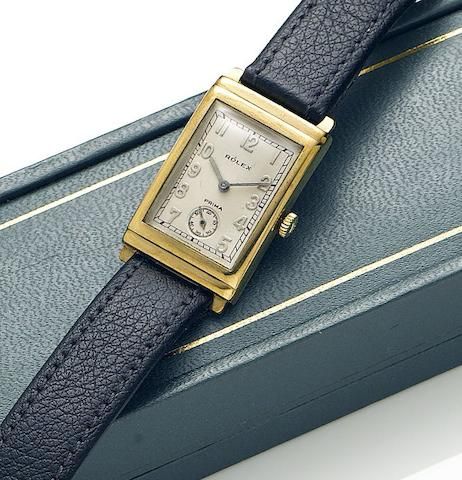 Rolex. A lady's 9ct gold manual wind wristwatch Prima, Reference 1936, Case Number 10065, Hallmarked Glasgow Import 1933
