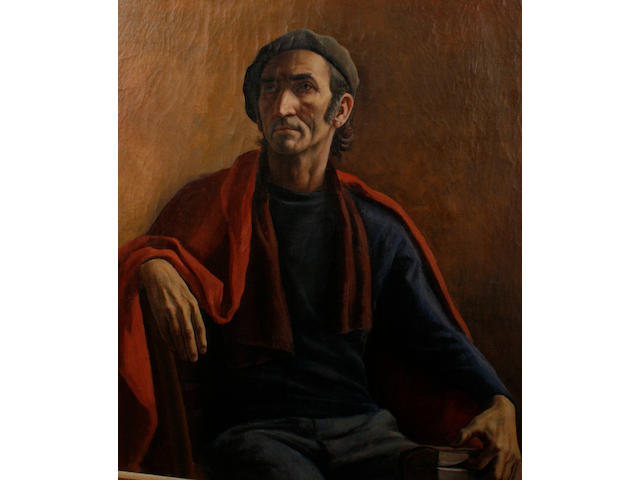 Marcello Tommasi (Italian, born 1928) Portrait of a man seated, holding a book