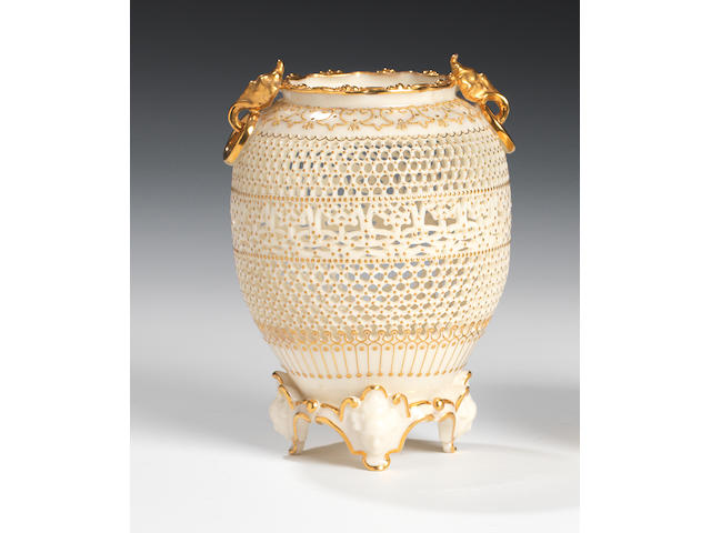 A fine Royal Worcester reticulated vase by George Owen, dated 1916