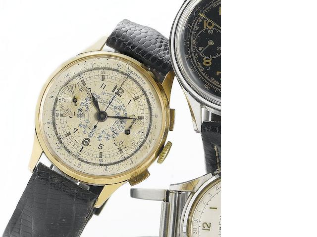 Chronographe Suisse. An 18ct rose gold manual wind chronograph wristwatch Circa 1940