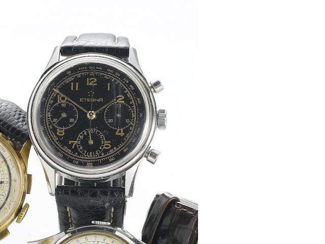 Eterna. A stainless steel manual wind chronograph wristwatch Circa 1960