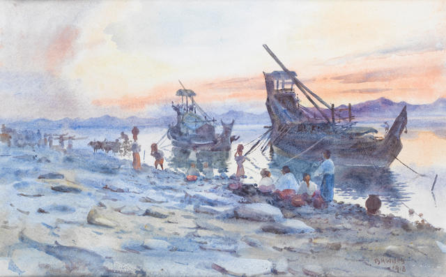 Bernard Harper Wiles (British, 1883-1966) Boats on a Burmese river