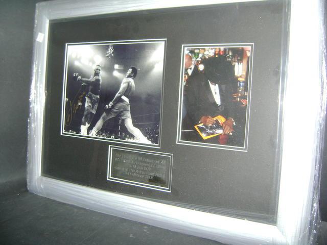 Muhammad Ali v Joe Frazier hand signed montage