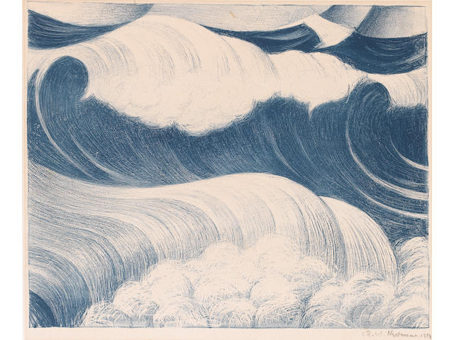 Christopher Richard Wynne Nevinson A.R.A. (British, 1889-1946) The Wave Etching, 1919, printed in colours, on laid, signed and dated in pencil, 345 x 428mm (13 1/2 x 16 3/4in)(I)