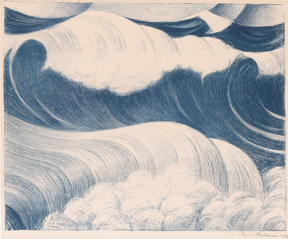 Christopher Richard Wynne Nevinson A.R.A. (British, 1889-1946) The Wave Lithograph, 1917, a rare impression, printed in colours, on laid, signed and dated in pencil, 345 x 428mm (13 1/2 x 16 3/4in)(I) unframed