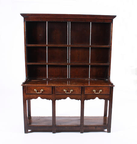 A small George III oak and pine high dresser, South Wales