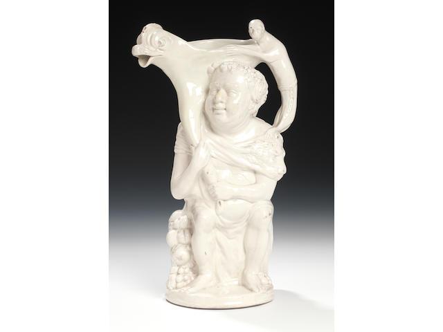A creamware Bacchus jug, circa 1790