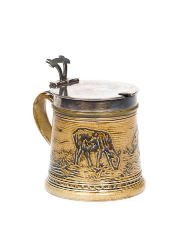 Hannah Barlow for Doulton Lambeth A stoneware Mustard Pot, 1876