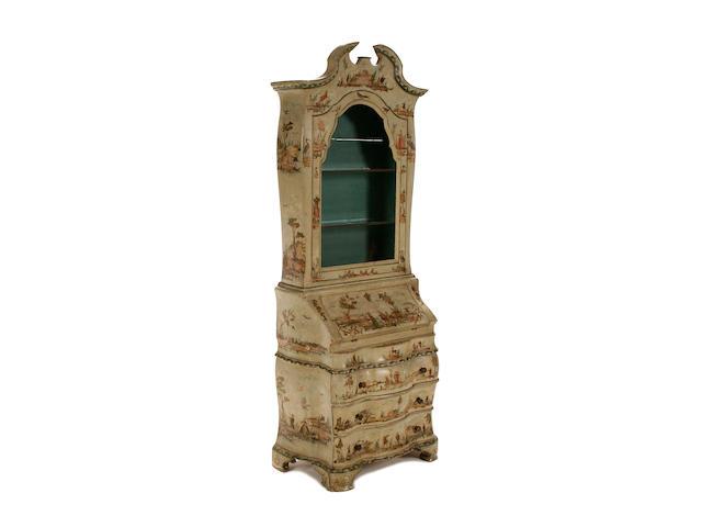 A mid 18th century style Venetian lacca povera bureau cabinet