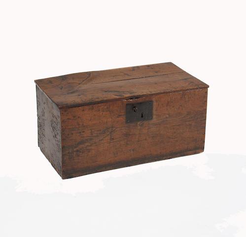 A George III oak plank box