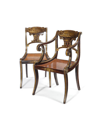 A set of six Regency simulated rosewood and parcel gilt dining chairs