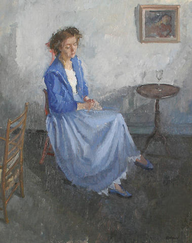 Peter Kuhfeld, Cathryn in a blue dress, oil, signed