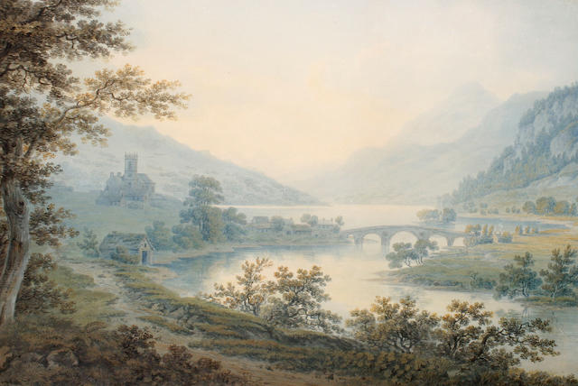 Hugh William Williams (British, 1773-1829) A lakeland view with church and buildings