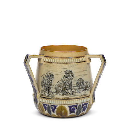 Hannah and Lucy Barlow for Doulton Lambeth A good stoneware Tyg with puppies, 1882