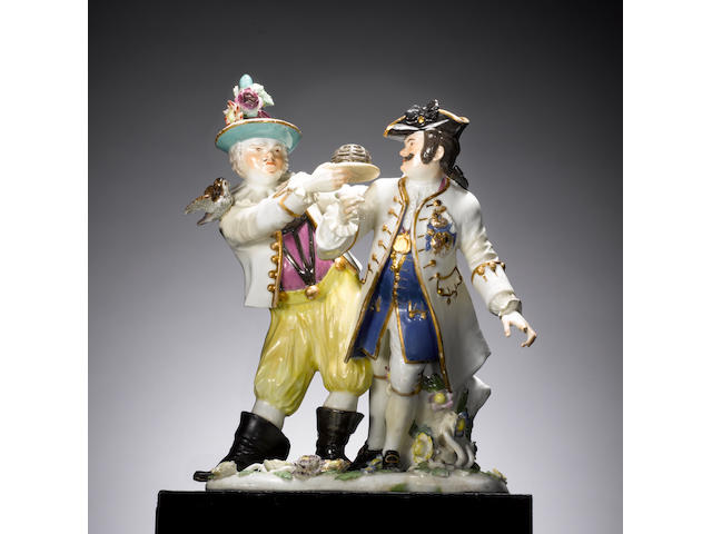 A very rare Meissen group of Fröhlich and Schmiedel circa 1745-50