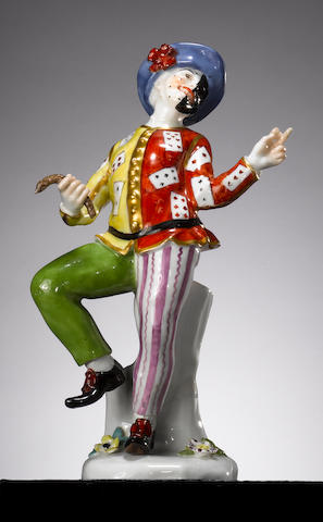 A Meissen figure of Harlequin dancing, circa 1740 (restored)