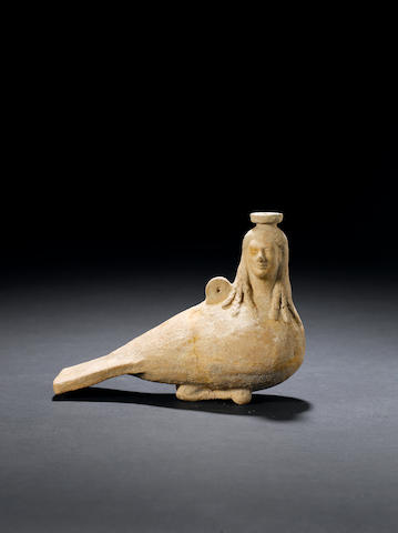 A Greek terracotta plastic vase in the shape of a siren