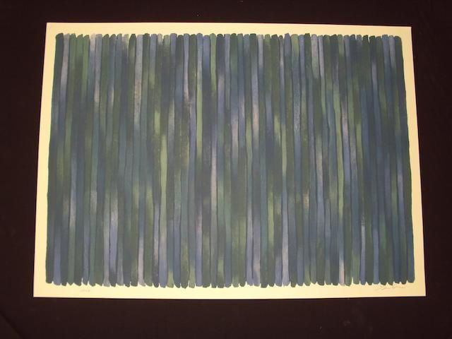 Gene Davis (American, 1920-1985) Stripes in blue and green
