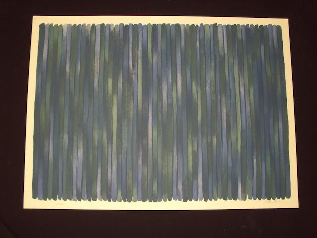 Gene Davis (American, 1920-1985) Stripes in blue and green