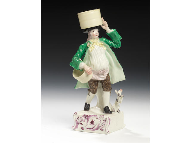 A rare Longton Hall figure of a street vendor, circa 1756-58