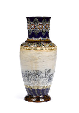Hannah Barlow for Doulton Lambeth A large stoneware Vase with Cattle, circa 1900