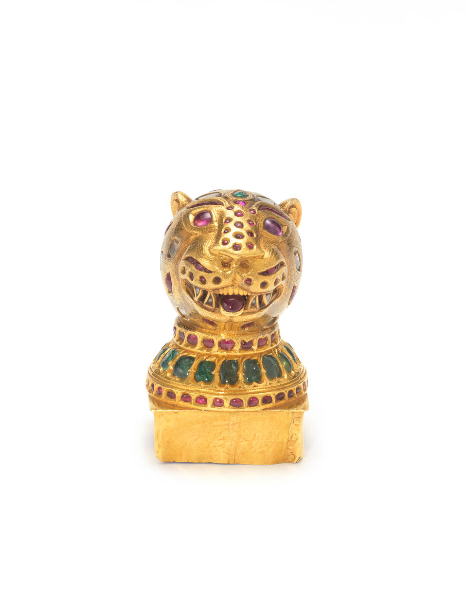 An Indian gem-set gold finial in the form of a tiger's head from the throne of Tipu Sultan, circa 1790