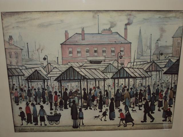 Laurence Stephen Lowry R.A. (British, 1887-1976) 'Market Scene in a Northern Town'