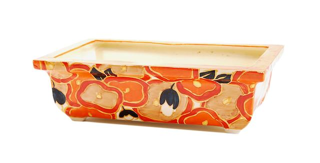 A Clarice Cliff 'Orange Chintz' pattern planter Circa 1932-33