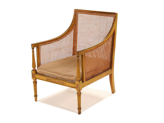 A Regency mahogany and later decorated bergere