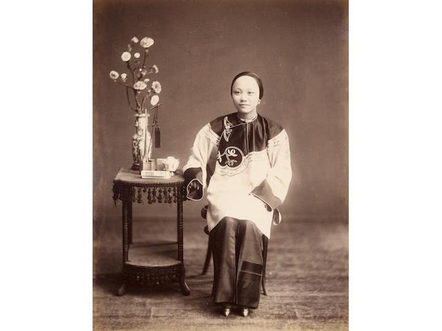HONG KONG An album of thirty-six images combining views of Hong Kong (18) with good Chinese portraits (presumed from Hong Kong studios)