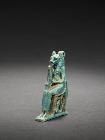 An Egyptian glazed composition amulet of Sekhmet