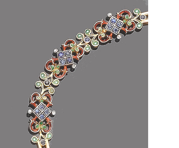 An enamel and gem-set bracelet (illustrated on previous page)