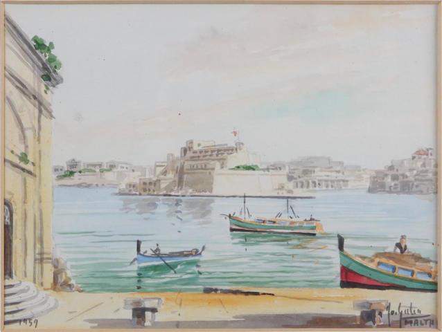 Continental School (20th Century) Valetta harbour, Malta