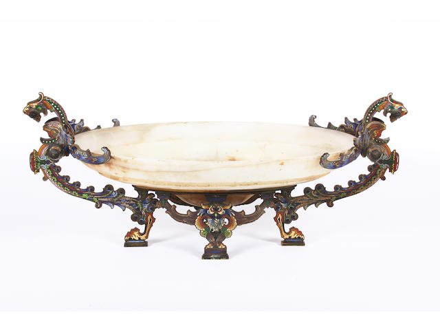 A late 19th century French Barbedienne style alabaster or onyx, brass and polychrome champleve mounted oval centrepiece