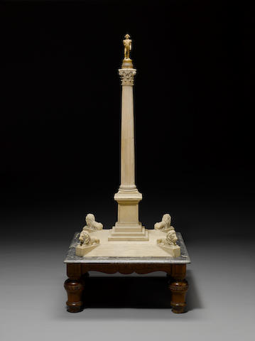 An important mid 19th century carved bathstone architect's 1:40 scale model of Nelson's column, circa 1844  after the design by William Railton (1801-1877)