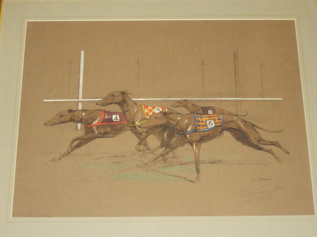 Eugène Pechaubes (French, 1890-1967) Greyhounds racing, and another of racehorses jumping a fence, (2),