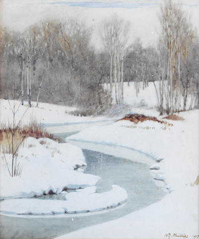 Walter Joseph Phillips, RCA, ASA, CSPWC (Canadian, 1884-1963) A stream in winter