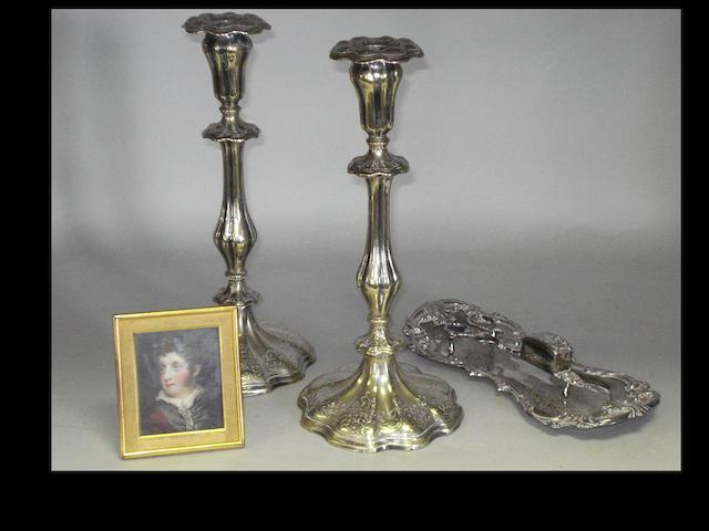 A portrait miniature, a pair of electro-plated candlesticks and a pair of candle snuffers on tray.