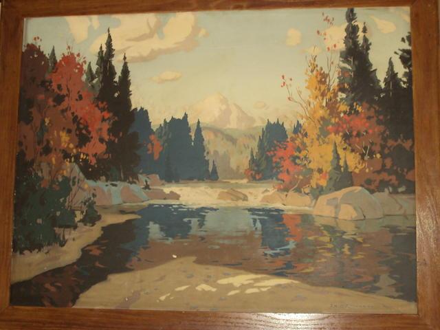 Eric Riordon (Canadian, 1906-1948) Canadian river landscape, Autumn