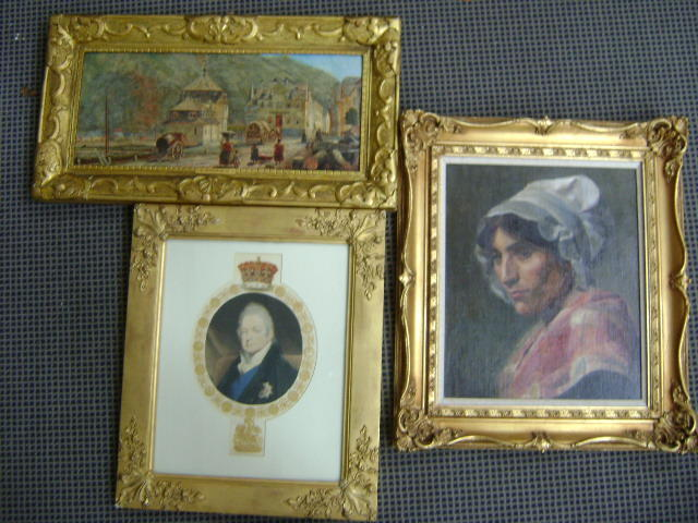 Continental Town Scene, wotj figures, oil on canvas, 22 x 51cm, together with a portrait print of Geroge IV or William IV, gilt framed, and a portrait of a woman wearing a white cap, oil. (3)