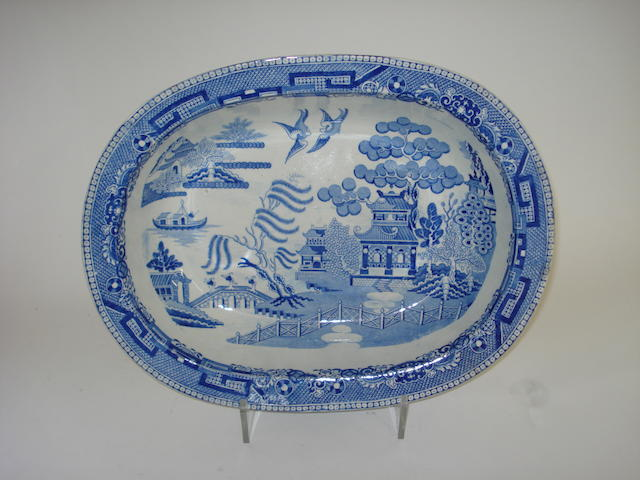 A Preston Pans Gordons Pottery Willow Pattern dish 19th century