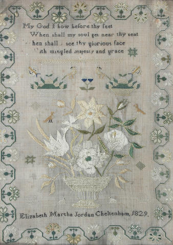 An early 19th Century sampler by Elizabeth Jordan, 1929