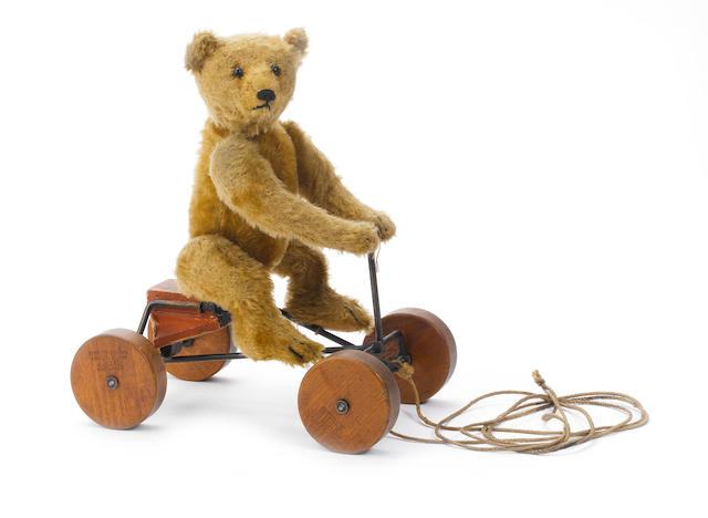 Steiff Record Teddy bear on wheels, circa 1915