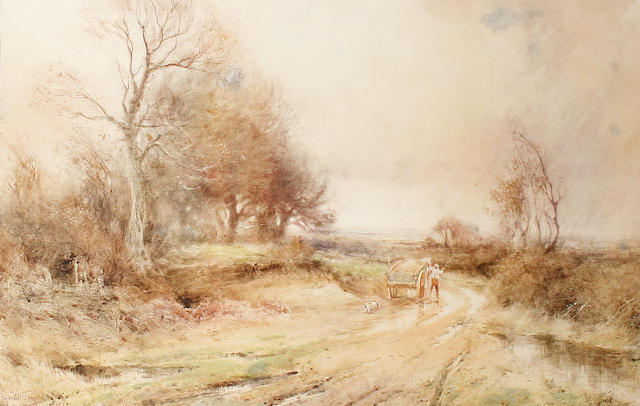 Henry John Sylvester Stannard, RBA (British, 1870-1951) Haycart on a country lane